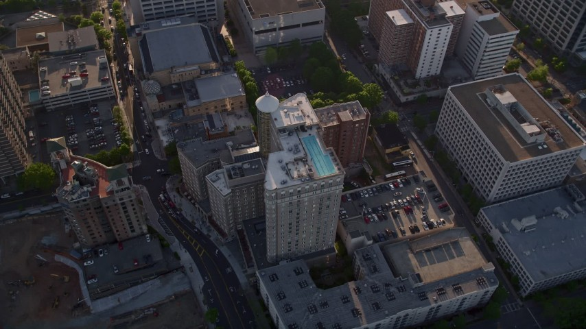 5K stock footage aerial video of a bird's eye orbiting Georgian Terrace Hotel, Midtown Atlanta Aerial Stock Footage | AX39_021