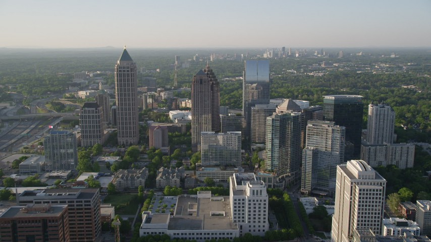 5K stock footage aerial video approaching One Atlantic Center and surrounding skyscrapers, Midtown Atlanta Aerial Stock Footage | AX39_022