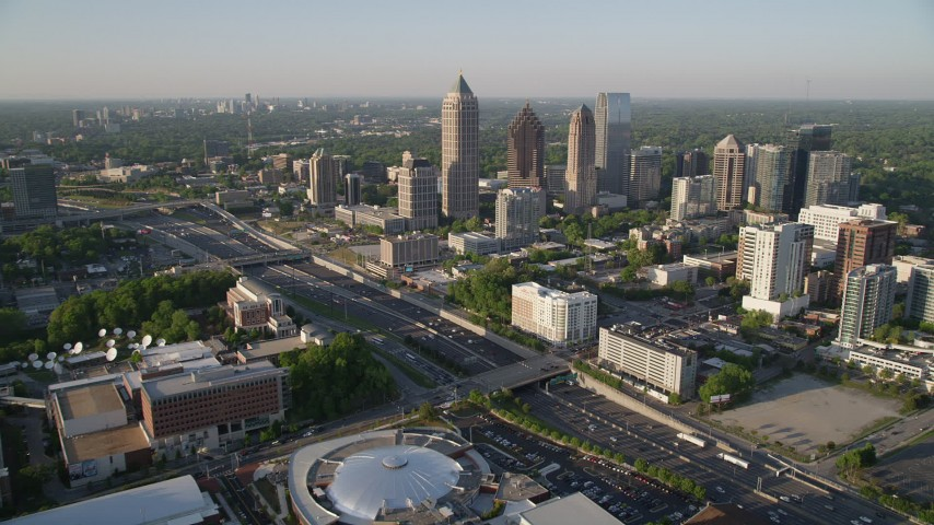 5K stock footage aerial video approaching skyscrapers from Georgia Tech Campus, Midtown Atlanta Aerial Stock Footage | AX39_030