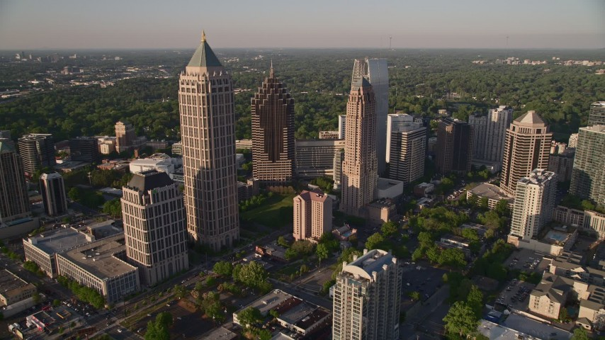 5K stock footage aerial video approaching and orbiting One Atlantic Center to reveal more of Midtown Atlanta, Georgia Aerial Stock Footage   AX39_030E