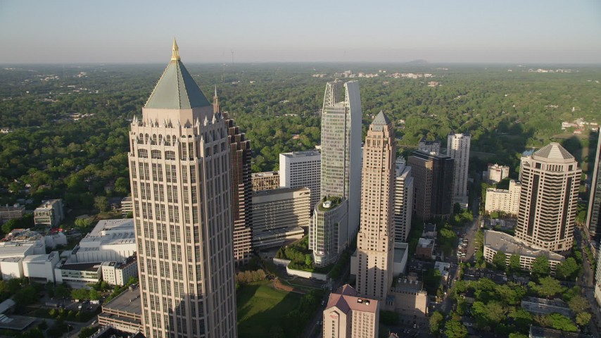 5K aerial video approaching and orbiting One Atlantic Center, Midtown Atlanta, Georgia Aerial Stock Footage | AX39_031