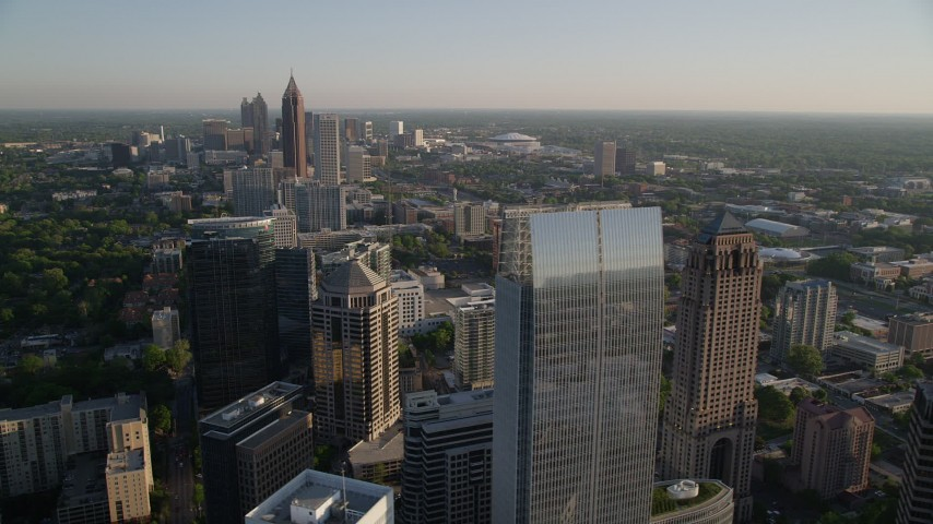 5K stock footage aerial video of Midtown Atlanta skyscrapers and high-rises, Georgia Aerial Stock Footage | AX39_033