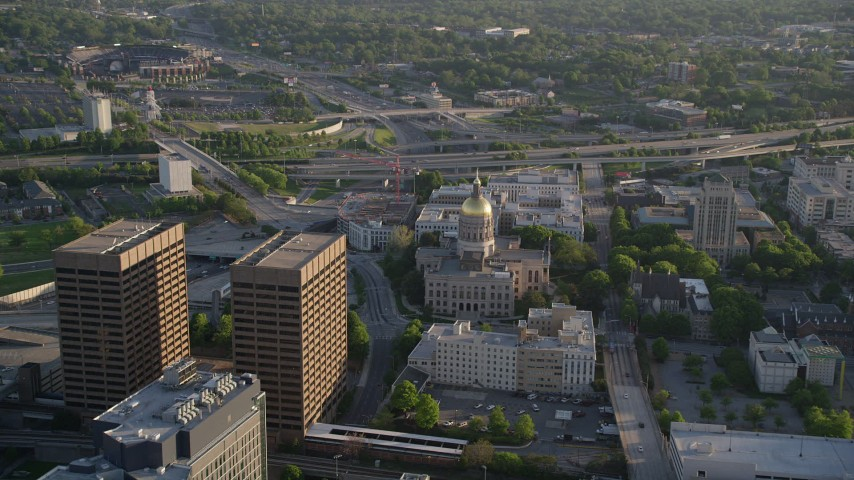 5K stock footage aerial video approaching and tilting down on Georgia State Capitol, Downtown Atlanta Aerial Stock Footage | AX39_039