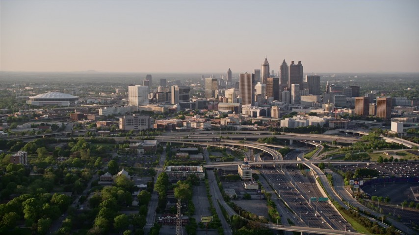 5K aerial video approaching Downtown Atlanta, Georgia Aerial Stock Footage AX39_042