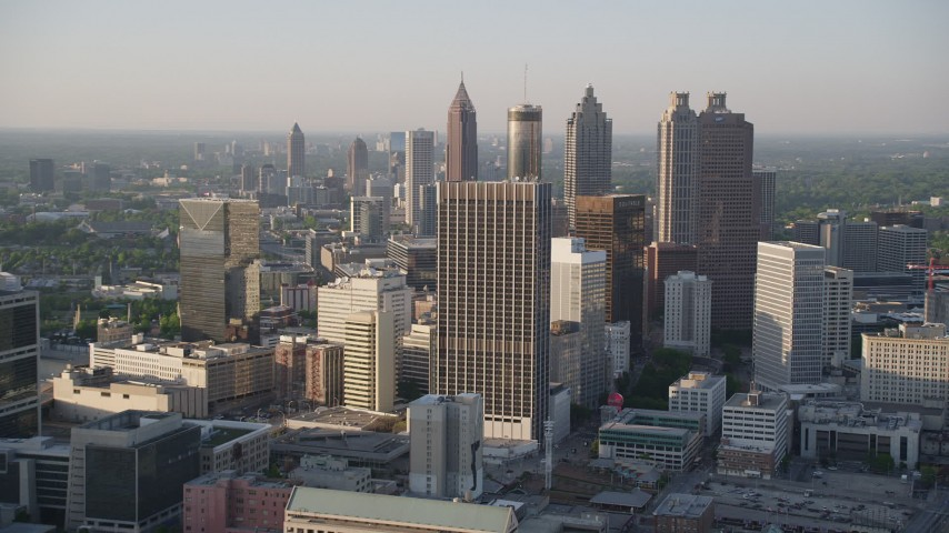 5K aerial video approaching skyscrapers and high-rises, Downtown Atlanta, Georgia Aerial Stock Footage | AX39_045