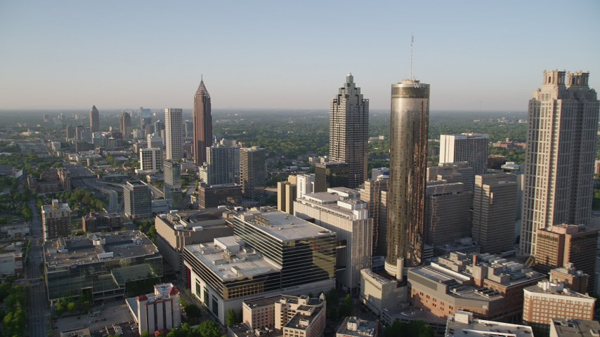 5K stock footage aerial video approaching Bank of America Plaza, Downtown Atlanta Aerial Stock Footage | AX39_047