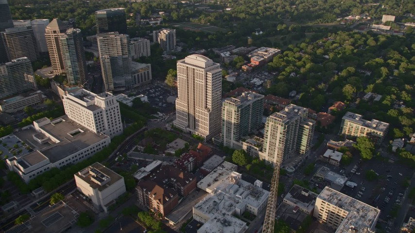 5K stock footage aerial video approaching 999 Peachtree Street and condominium complex, Midtown Atlanta Aerial Stock Footage | AX39_052