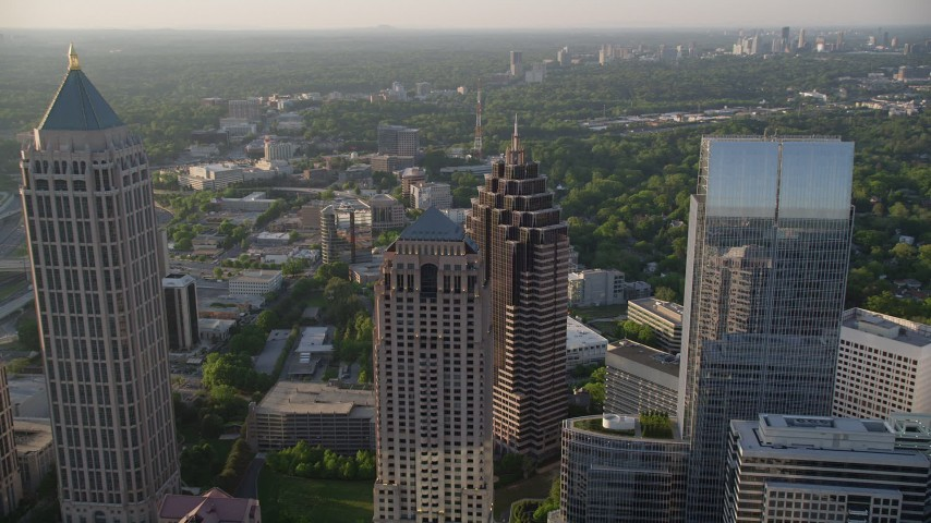 5K aerial video approaching Promenade II, Midtown Atlanta Aerial Stock Footage | AX39_053