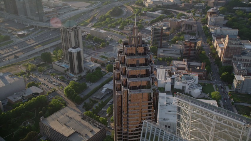 5K stock footage aerial video orbiting the top of Promenade II, Midtown Atlanta, Georgia Aerial Stock Footage | AX39_054