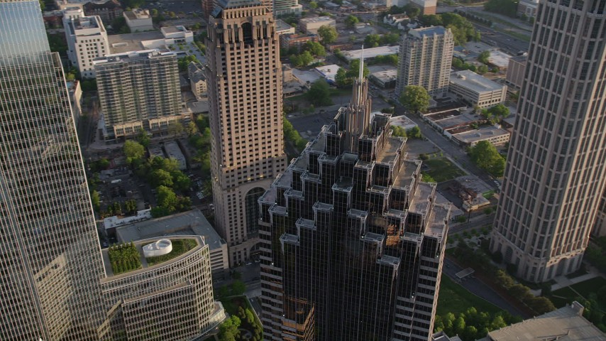 5K stock footage aerial video orbiting top of Promenade II, Midtown Atlanta, Georgia Aerial Stock Footage | AX39_055