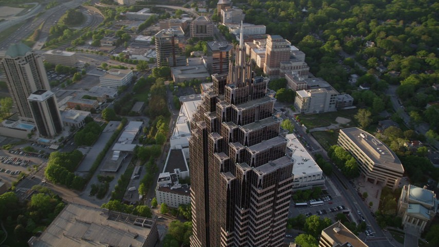 5K stock footage aerial video orbiting top of Promenade II, Midtown Atlanta, Georgia Aerial Stock Footage | AX39_057