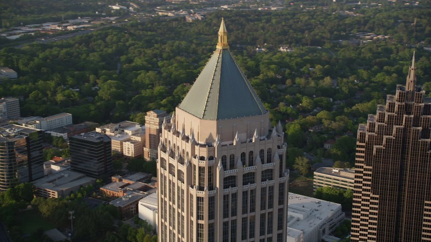 5K stock footage aerial video orbiting the top of One Atlantic Center, Midtown Atlanta, Georgia Aerial Stock Footage | AX39_060