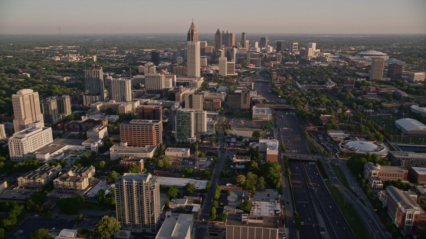 5K stock footage aerial video orbiting One Atlantic Center revealing Midtown skyscrapers, Atlanta, Georgia Aerial Stock Footage | AX39_061