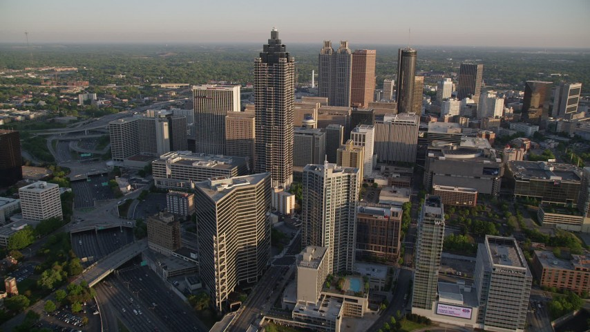 5K stock footage aerial video approaching SunTrust Plaza and Downtown Atlanta, Georgia Aerial Stock Footage | AX39_064