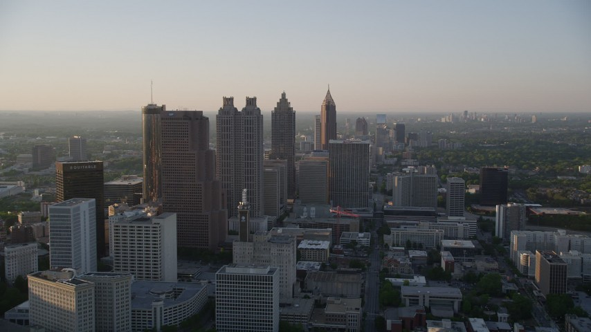 5K stock footage aerial video flying by Downtown Atlanta skyscrapers and high-rises, Georgia Aerial Stock Footage AX39_067 | Axiom Images