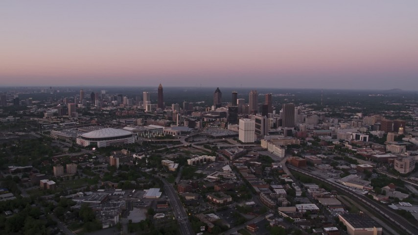 5K stock footage aerial video of Downtown, Midtown and Georgia Dome, Atlanta, twilight Aerial Stock Footage | AX40_001