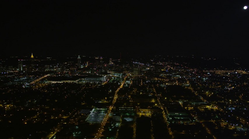5K aerial video of city sprawl, Downtown Atlanta, Georgia, night Aerial Stock Footage | AX41_001