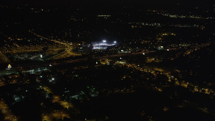 5K stock footage aerial video approaching Turner Field, Atlanta, Georgia, night Aerial Stock Footage | AX41_002
