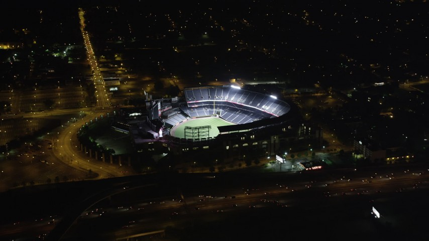 5K stock footage aerial video approaching Turner Field, Atlanta, Georgia, night Aerial Stock Footage | AX41_003