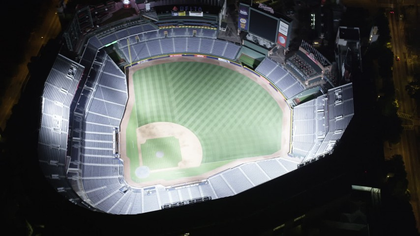 5K stock footage aerial video approaching Turner Field and tilt down, Atlanta, Georgia, night Aerial Stock Footage AX41_004 | Axiom Images