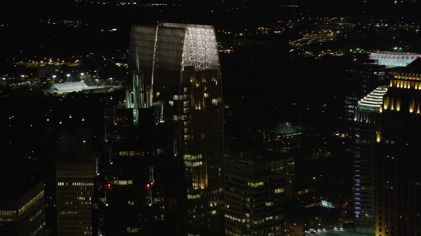 5K stock footage aerial video of a medium shot orbiting 1180 Peachtree, Midtown Atlanta, Georgia, night Aerial Stock Footage | AX41_035