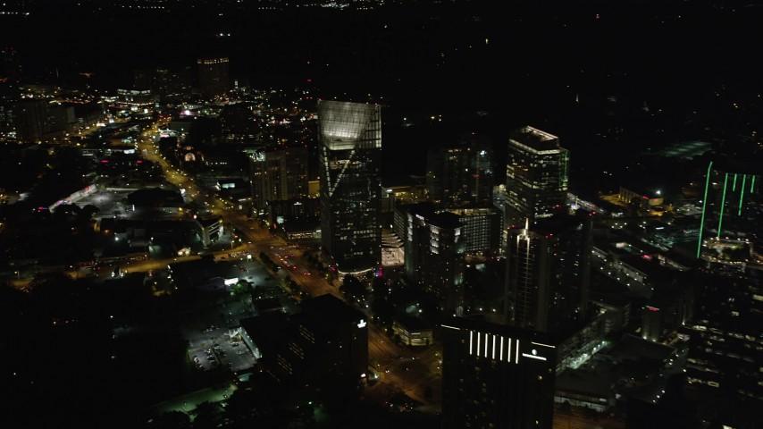 5K aerial video approaching Terminus Atlanta, Buckhead, Georgia, night Aerial Stock Footage | AX41_045
