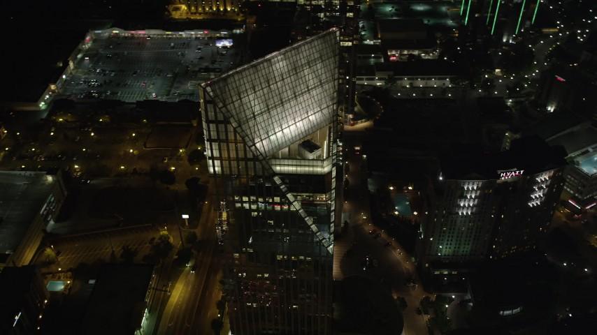 5K aerial video orbiting Terminus Atlanta, Buckhead, Georgia, night Aerial Stock Footage | AX41_046