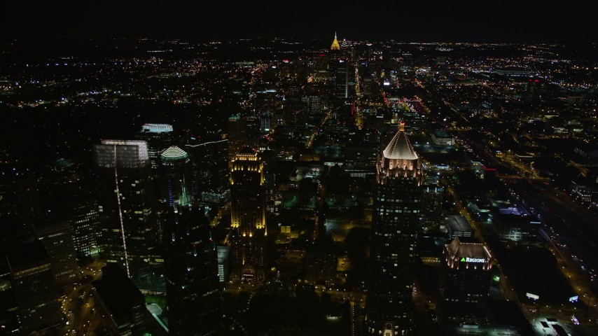 5K stock footage aerial video of One Atlantic Center, GLG Grand, Promenade II and 1800 Peachtree, Midtown Atlanta, Georgia Aerial Stock Footage   AX41_055E