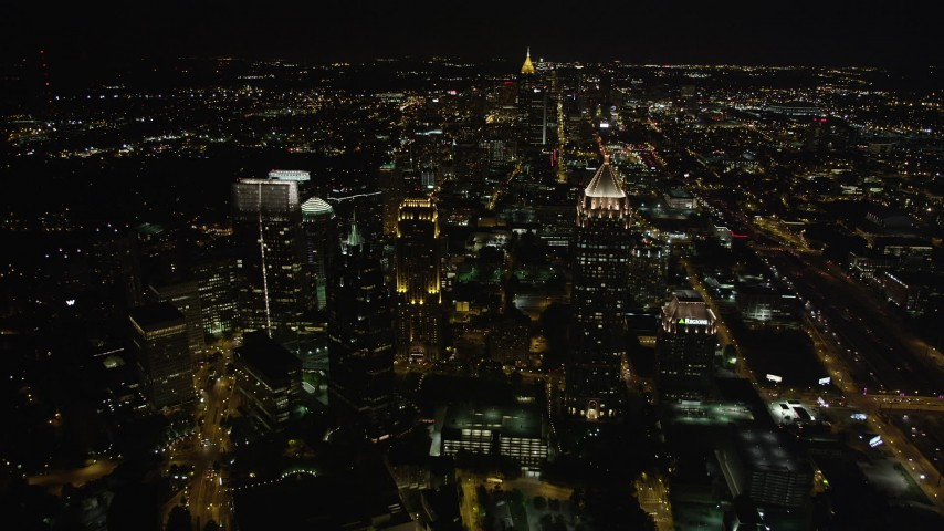 5K stock footage aerial video of One Atlantic Center, GLG Grand, Promenade II and 1800 Peachtree, Midtown Atlanta, Georgia Aerial Stock Footage | AX41_056