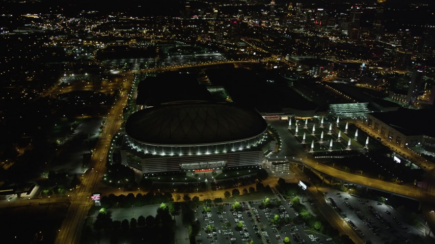 5K stock footage aerial video orbiting Georgia Dome, Atlanta, Georgia Aerial Stock Footage | AX41_063