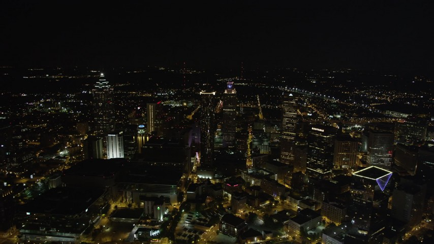 5K stock footage aerial video approaching skyscrapers, Downtown Atlanta, Georgia, night Aerial Stock Footage | AX41_065