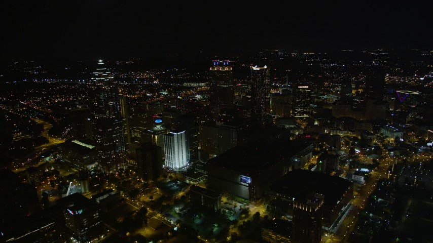 5K stock footage aerial video approaching skyscrapers, Downtown Atlanta, Georgia, night Aerial Stock Footage | AX41_076