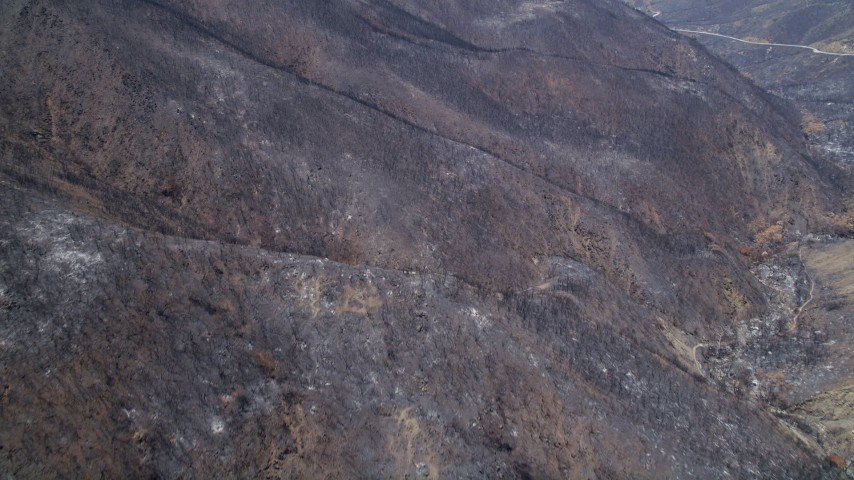 5K stock footage aerial video fly over scorched slopes of the Santa Monica Mountains, California Aerial Stock Footage | AX42_002