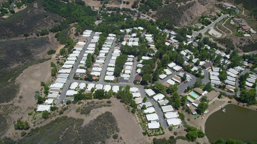 5K stock footage aerial video approach a mobil home park in Agoura Hills, California Aerial Stock Footage | AX42_111