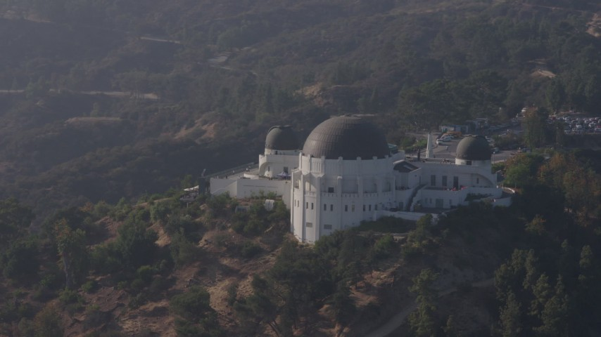4K stock footage aerial video orbiting around the Griffith Observatory, Los Angeles, California Aerial Stock Footage | AX43_012