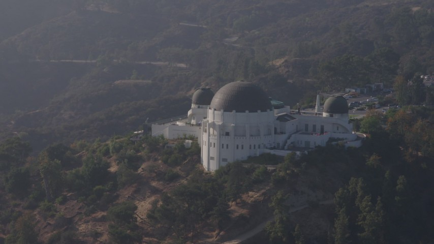 4K stock footage aerial video orbiting around the iconic Griffith Observatory, Los Angeles, California Aerial Stock Footage   AX43_013