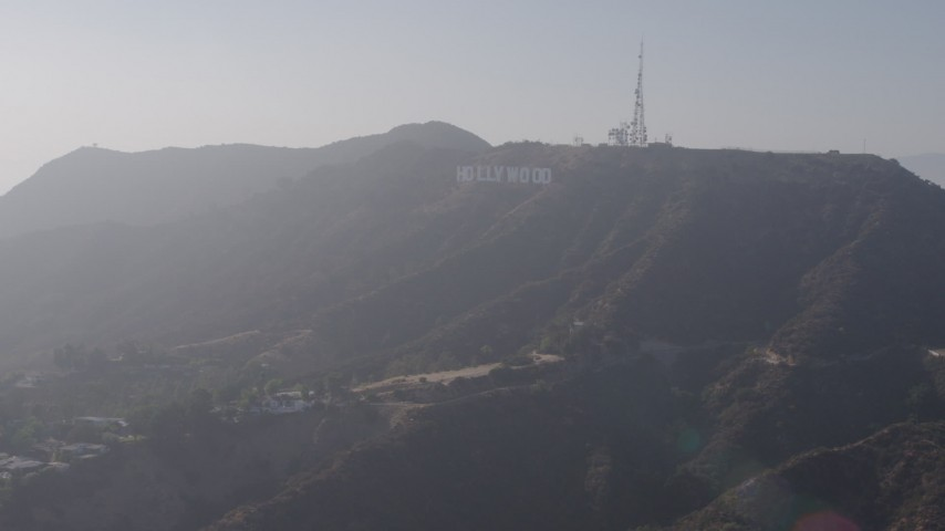 4K stock footage aerial video approaching the iconic Hollywood Sign, Los Angeles, California Aerial Stock Footage | AX43_015