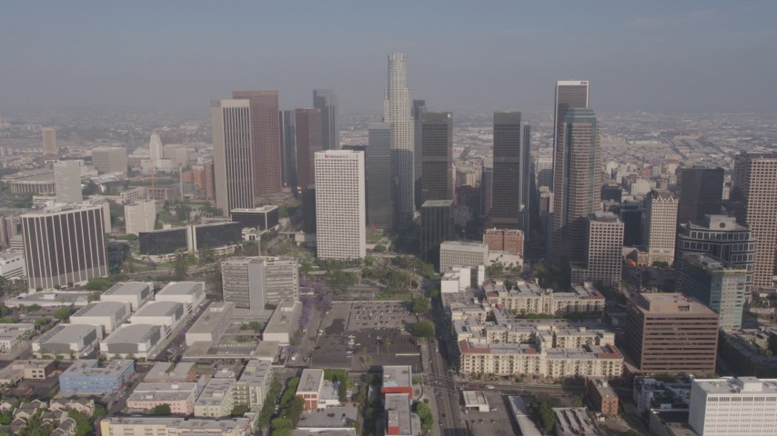 4K stock footage aerial video passing by the skyscrapers of Downtown Los Angeles, California Aerial Stock Footage | AX43_031