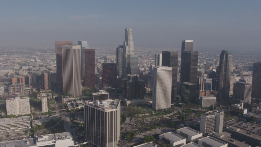 4K stock footage aerial video flying by a group of skyscrapers in Downtown Los Angeles, California Aerial Stock Footage | AX43_032