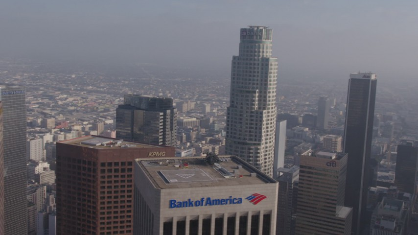 4K aerial video orbiting US Bank Tower in Downtown Los Angeles, California Aerial Stock Footage | AX43_045
