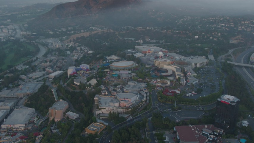 4K stock footage aerial video approaching Universal Studios, Hollywood, California Aerial Stock Footage | AX44_019
