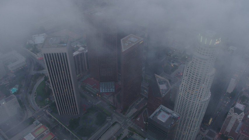 4K stock footage aerial video circling above Downtown Los Angeles skyscrapers, California, twilight Aerial Stock Footage | AX44_039