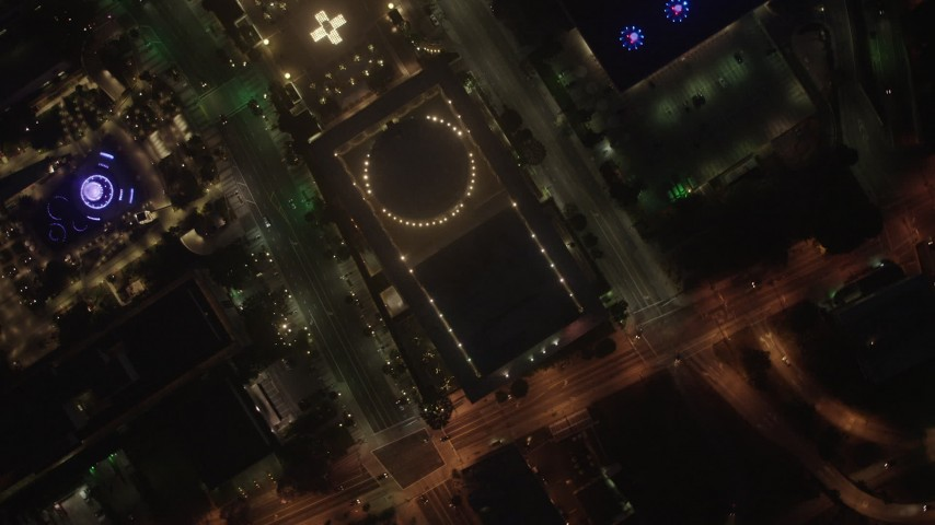 4K stock footage aerial video of a bird's eye of city streets and buildings, Downtown Los Angeles, night Aerial Stock Footage | AX44_082