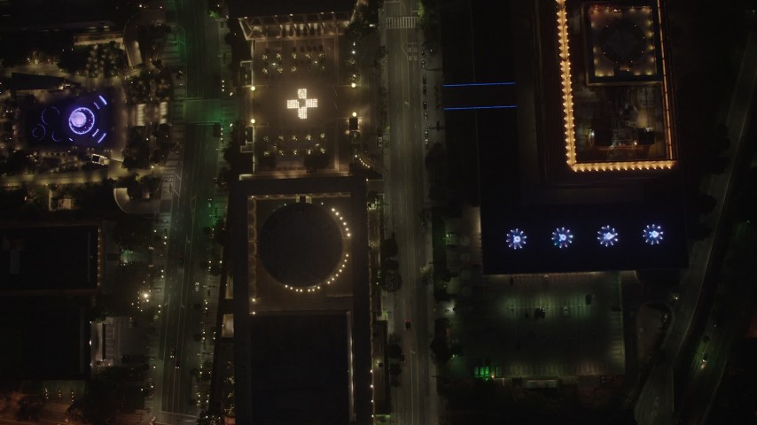 4K aerial video of a bird's eye over city streets and buildings, Downtown Los Angeles, night Aerial Stock Footage | AX44_083
