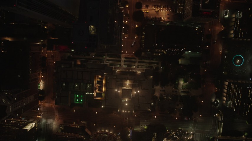 4K stock footage aerial video of a bird's eye of city streets and buildings, Downtown Los Angeles, night Aerial Stock Footage | AX44_084