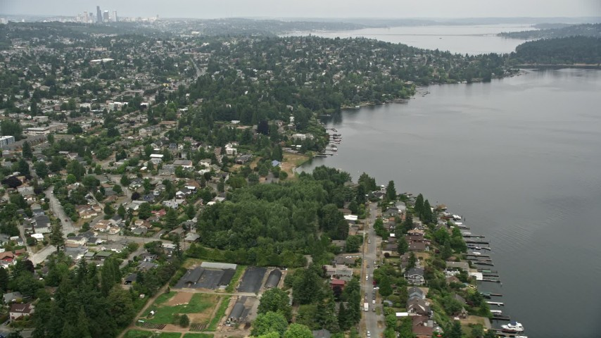 5K aerial video of suburban homes near the lake, Pritchard Island Beach park, Rainier Beach, Washington Aerial Stock Footage | AX45_004