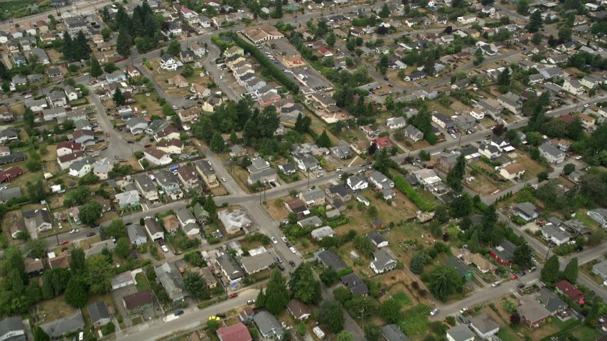 5K stock footage aerial video flying over a residential neighborhood in Rainier Valley, Washington Aerial Stock Footage | AX45_005