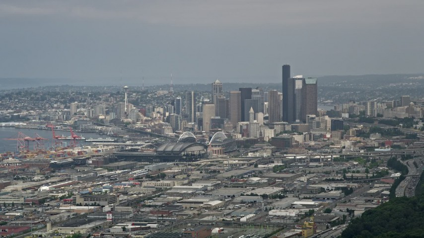 5K stock footage aerial video of Seattle skyline seen from south of Downtown Seattle, Washington Aerial Stock Footage | AX45_013