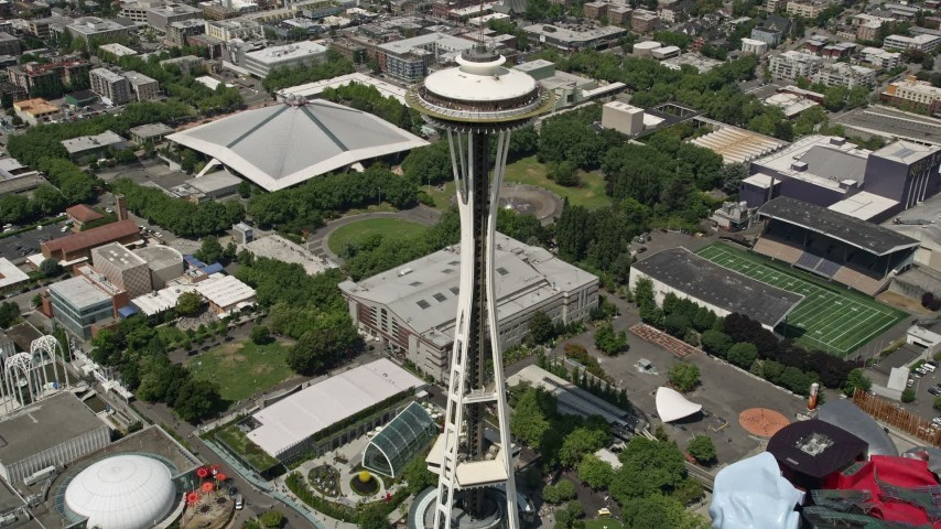 5K stock footage aerial video approaching and tilting to a bird's eye of the Space Needle, Downtown Seattle, Washington Aerial Stock Footage | AX45_068