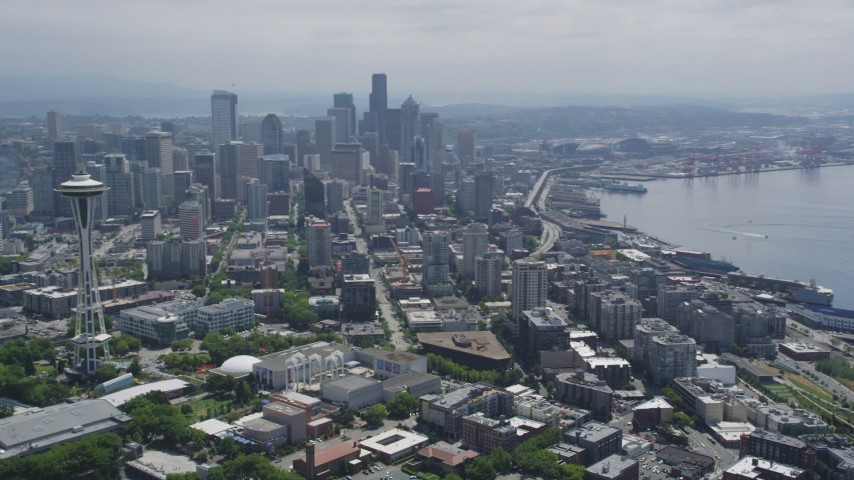 5K stock footage aerial video of the Space Needle and skyscrapers in Downtown Seattle, Washington Aerial Stock Footage | AX45_069